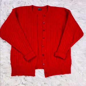 Red 100% Cashmere Brooks Brothers Cardigan Size M